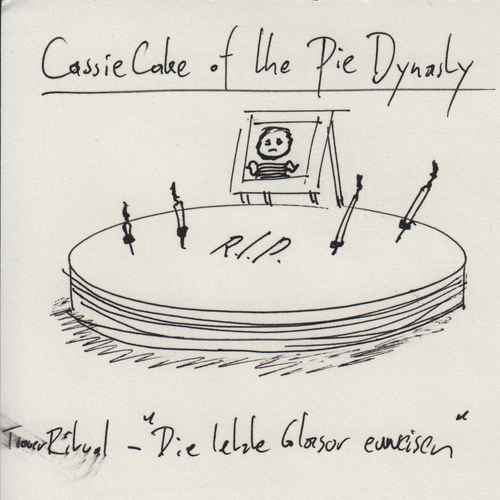 "Drawn in ink, a cake with the letters ""R.I.P."", a framed portrait, and above the underlined heading ""Cassie Cake of the Pie Dynasty"""