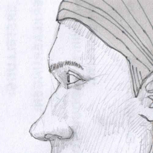 A cropped portion of a face drawn from the side with pencil, centered around the eye