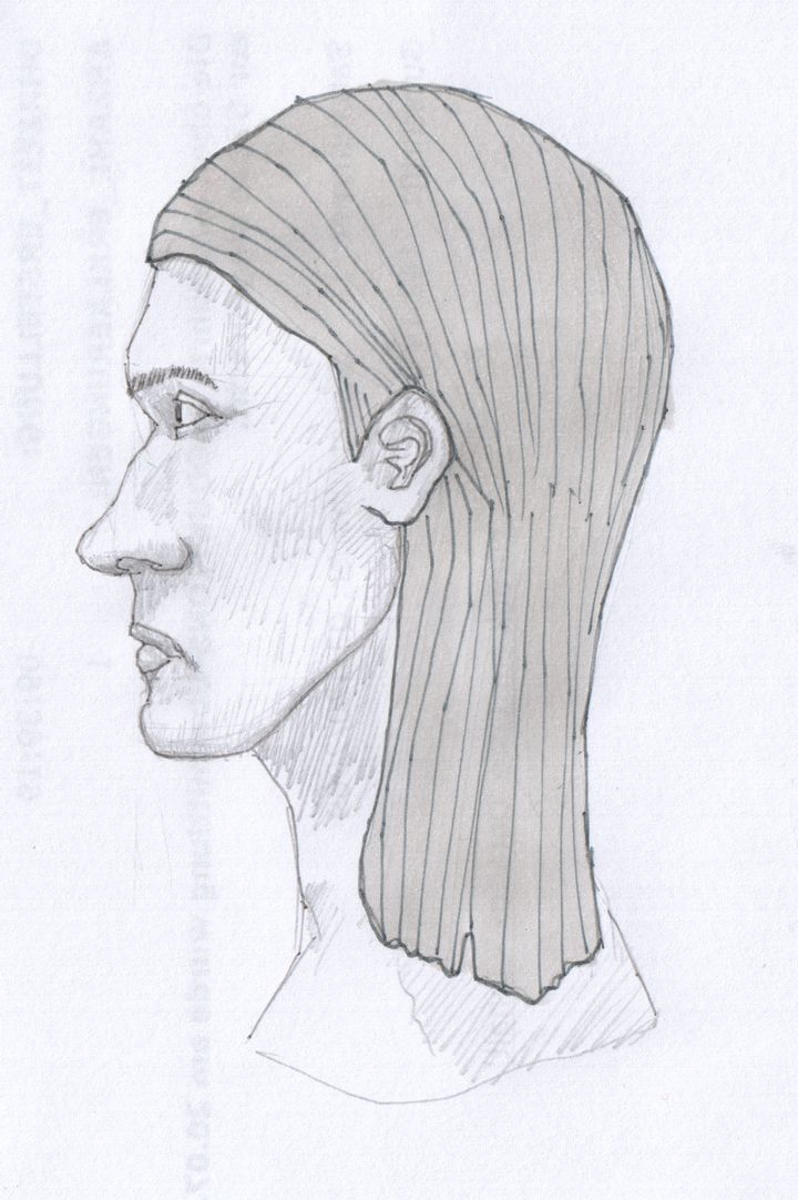 A tall, slim face with a pronounced nose and long, heavy hair, sketched in profile with pencil, ink and marker