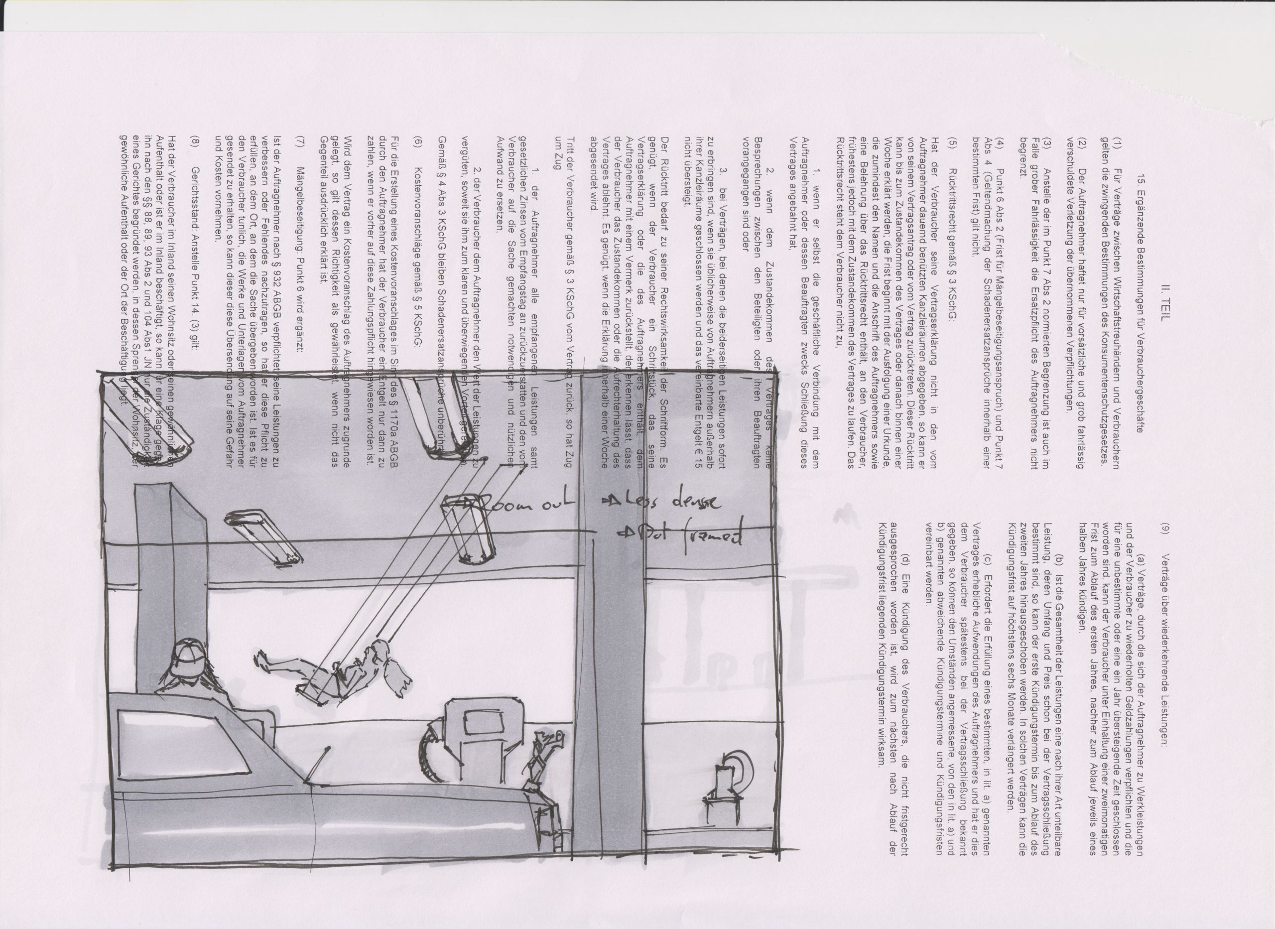 A paper sheet printed with german terms of service, on top of it an ink and marker panel showing a gas station with taps, a car, someone filling their tank, and against the sky a surreal element of what appears to be a moving girl on a swing hanging from the open tank station roof