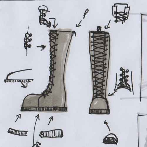 Two laced boots sketched with ink and marker, various parts are pointed to by arrows, at their base an alternative version of that part is sketched