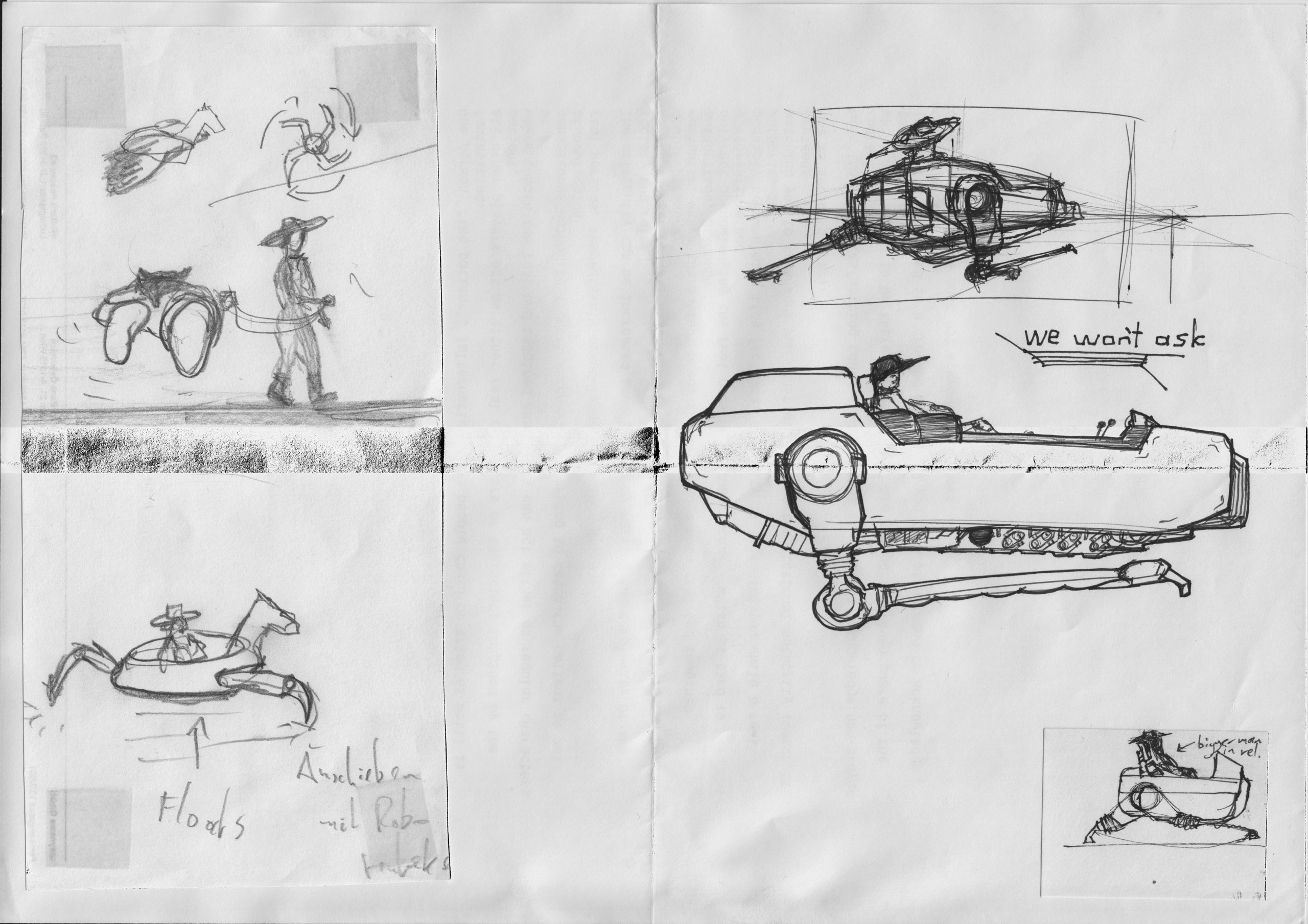 "Various pencil and ink sketches of a rider and their ""mechanical mount"", some notes with arrows (""floats"", ""pushed by robo-tentacles""), somewhere on the page it says ""we won't ask"" for no reason"