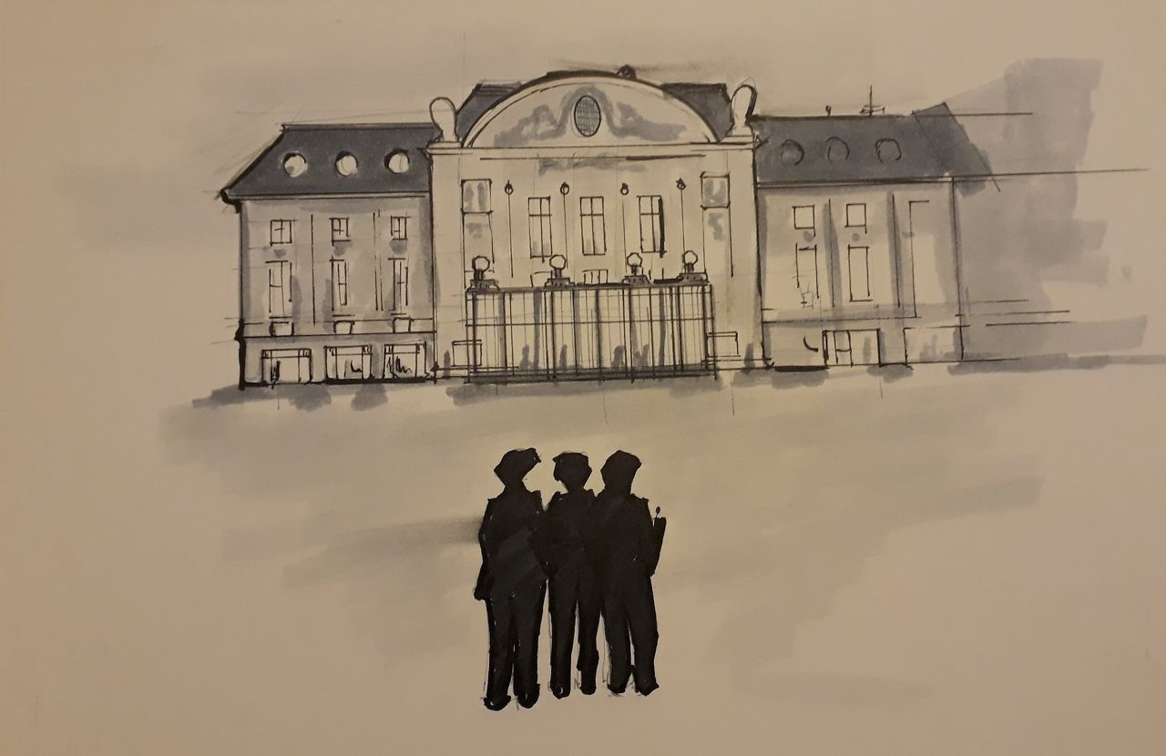 Three figures standing in front of the Konzerthaus building in vienna, sketched with ink and marker on beige tinted paper