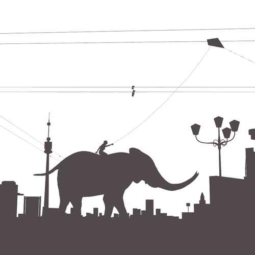 A grey-on-white silhouette rendering of an elephant running through a cityscape, on its back a person holding a kite