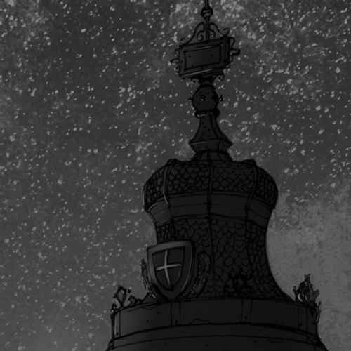 An ornamented, round, segmented tin roof of sorts, with the crest of vienna and an illegible plaquette further up, against a starry sky