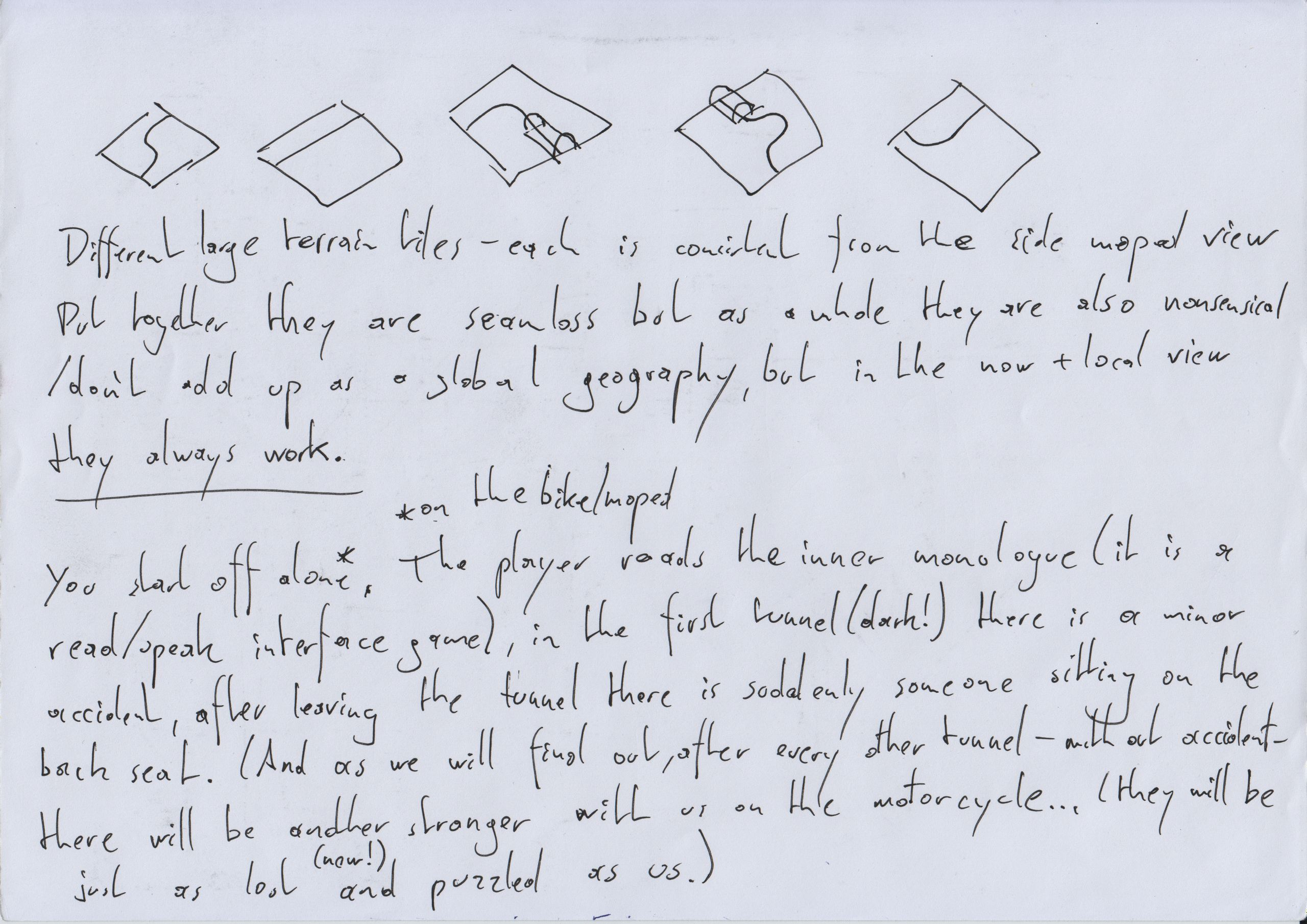 Scribbled notes on paper describing mechanics and story for a game