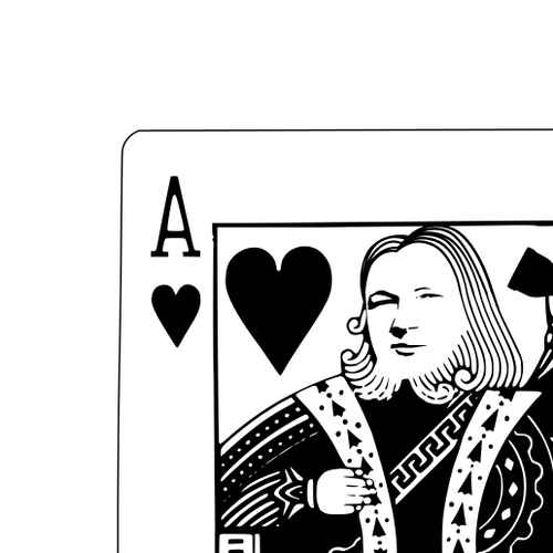 Julian Assange peering at you from an ace of hearts playing card