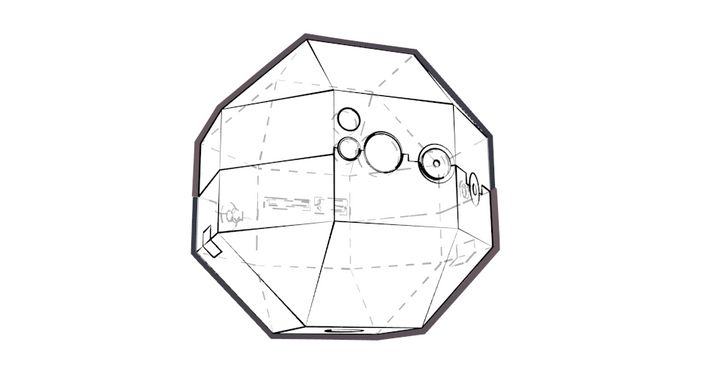 A rendering of a multi-cornered, sphere-like technical object, stylized as a line drawing